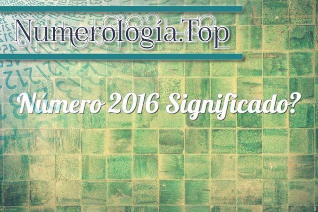 Número 2016 Significado