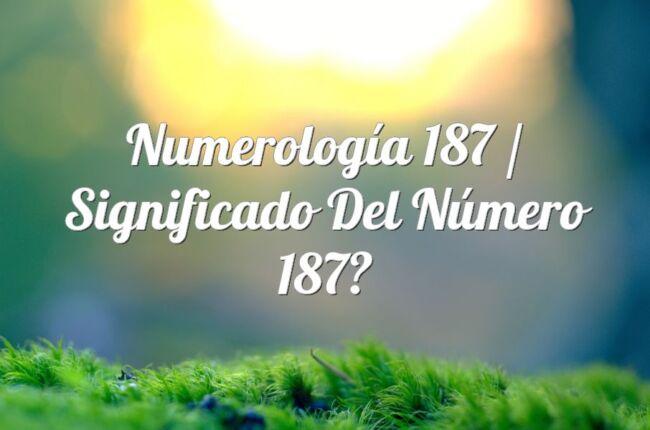 Numerología 187 / Significado del número 187